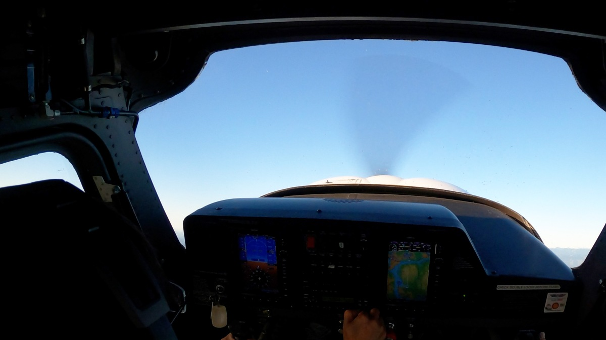 快晴の中で飛行練習